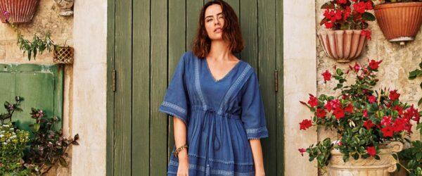 david badmode blauwe jurk